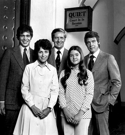 Back, L-R: Reni Santori, Arthur Hill, Lee Majors. Front: Joan Darling and Christine Matchett Owen Marshall cast 1973.JPG