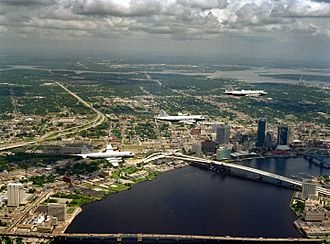 Trout River (Florida) - An aerial photo of Jacksonville, Florida with the Trout River in the distance near the top of the picture.