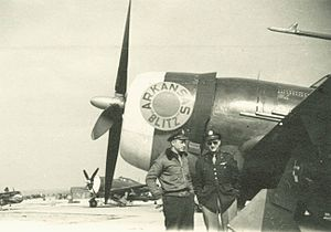 Paul P. Douglas Jr. (United States Air Force) - Douglas (left) with 368th Fighter Group Chaplain, Francis Cleary in front of Douglas's P-47 Arkansas Blitz