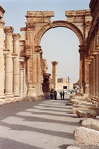 Great Colonnade at Palmyra - The Great Colonnade and the Monumental Arch.