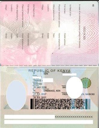 Kenyan passport - Image: PP 1.0 Bio page