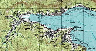 Outline of American Samoa - An enlargeable topographic map of Pago Pago Harbor on Tutuila in American Samoa