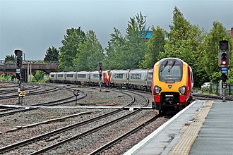 Chester railway station - A pair of Virgin Trains SuperVoyagers departing from Chester.