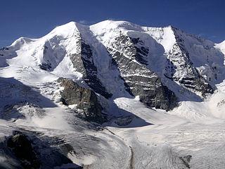 Piz Palü mountain shared by Switzerland and Italy