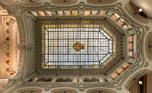 Skylight in the Cybele Palace or Palace of Communication, located on the Plaza de Cibeles, Madrid, Spain.