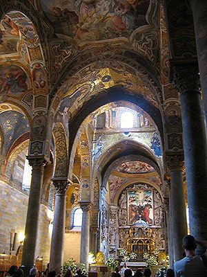 George of Antioch - The interior of the church of Santa Maria dell'Ammiraglio in Palermo, founded by George of Antioch.