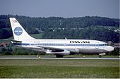 Pan Am Boeing 737-200 at Zurich Airport in May 1985.jpg