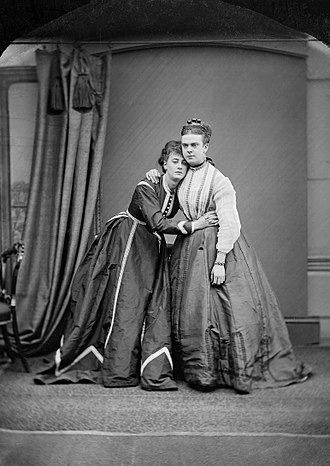 Boulton and Park - Fredrick Park (left) and Earnest Boulton (Fanny and Stella), 1869. Glass plate photograph held by Essex Record Office