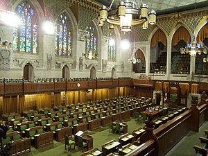 The Chamber of the House of Commons is decorat...