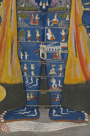 Patala - The legs of the god Vishnu as the purusha depict earth and the seven realms of Patala. The feet rest on Shesha.