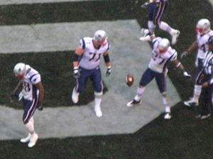 2008 New England Patriots season - Hobbs (right) celebrates his kickoff return for a touchdown.