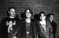 Pavement 1993: Nastanovich, Young, Malkmus, Ibold, Kannberg (von links)