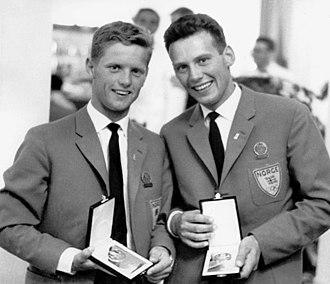 Peder Lunde Jr. - Lunde (left) and Bergvall in 1960