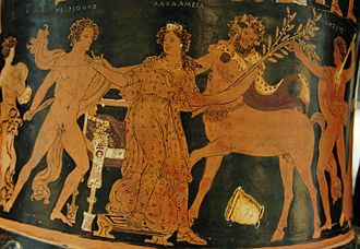 Pirithous - Pirithous, Hippodamia (here labeled under the name Laodameia), a Centaur, and Theseus, on an Apulian red-figure calyx-krater, 350-340 BC