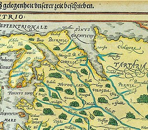 Great Perm - Map of Northern Russia, including Permia; by Gerard Mercator (Amsterdam, 1595).