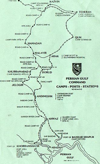 "Persian Gulf - Picture depicting ""Persian Corridor"" through which the Allies provided supplies to USSR."