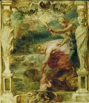 Achilles' heel - Oil painting (c. 1625) by Peter Paul Rubens of the goddess Thetis dipping her son Achilles in the River Styx, which runs through Hades. In the background, the ferryman Charon rows the dead across the river in his boat.