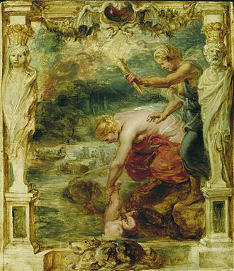 Achilles - Thetis Dipping the Infant Achilles into the River Styx by Peter Paul Rubens (c. 1625; Museum Boijmans Van Beuningen, Rotterdam)