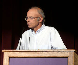 Peter Singer lecturing at Washington Universit...