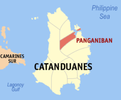 Map of Catanduanes with Panganiban highlighted