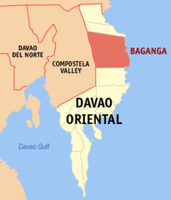 Map of Davao Oriental showing the location of Baganga
