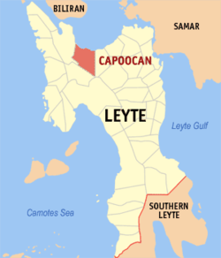 Map of Leyte with Capoocan highlighted