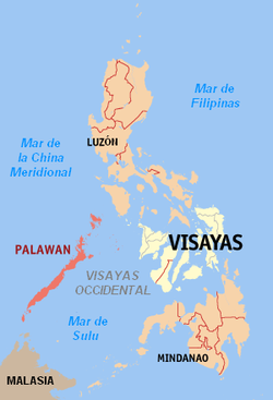 Localización do mar de Sulu, entre as illlas Visayas, as illas Mindanao, Borneo e Palawan.