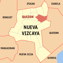 Map of Nueva Vizcaya showing the location of Quezon.