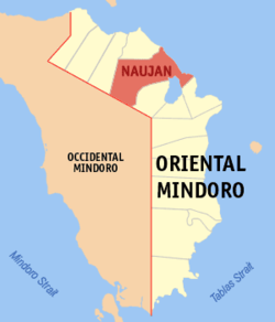 Map of New Mindoro showing the location of Naujan.
