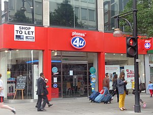 Phones 4u - A closed branch on Oxford Street in London following the group's collapse.