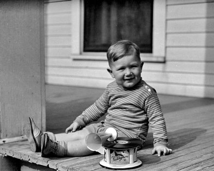 Boy and toy record player, 1920s Phonograph.jpg