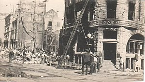 English: Real photo postcard of rubble of the ...