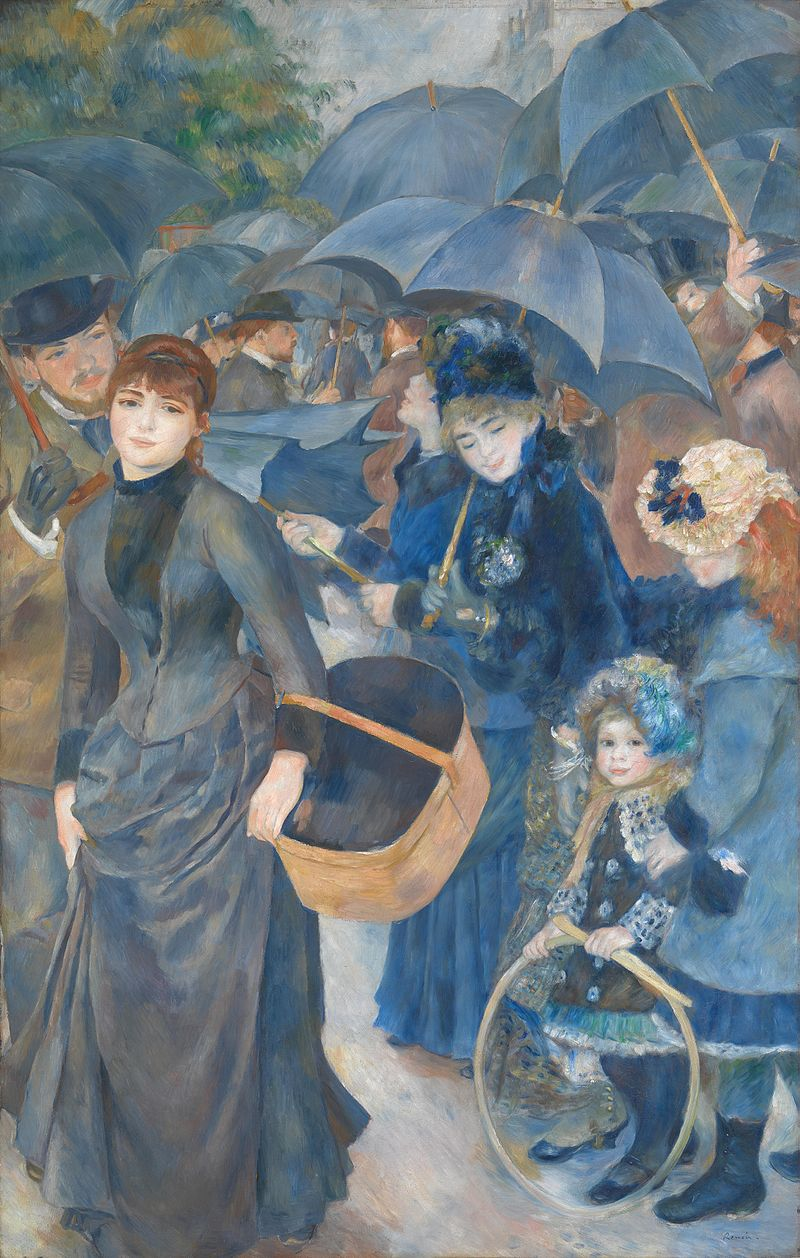 Les Parapluies, huile sur toile d'Auguste Renoir (années 1880, National Gallery, à Londres).  (définition réelle 2687×4226)