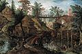 Pieter Stevens II - A wooded river landscape with fishermen by cottages, a wooden bridge beyond.jpg
