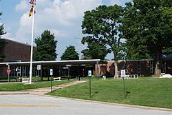 The entrance to Pikesville High School, located at the intersection of Labyrinth Road and Smith Avenue.