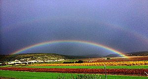 Aviel - Rainbow over the fields of Moshav Aviel