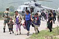 Pilgrims rescued from Gangotri arrive at Dharasu, Uttarakhand.jpg