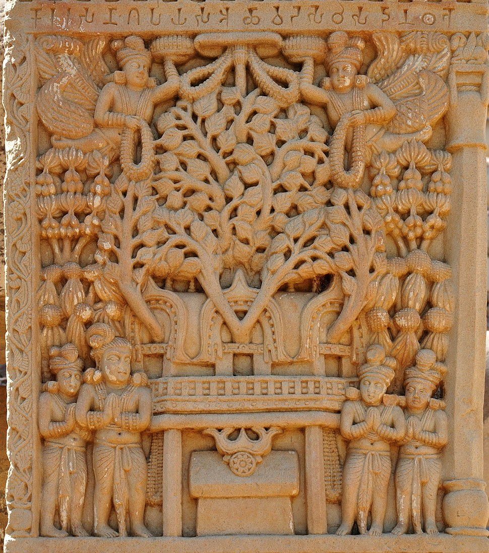 Pipal tree temple of Bodh Gaya depicted in Sanchi Stupa 1 Eastern Gateway