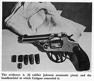 Leon Czolgosz - The Handkerchief, pistol and bullets used by Czolgosz