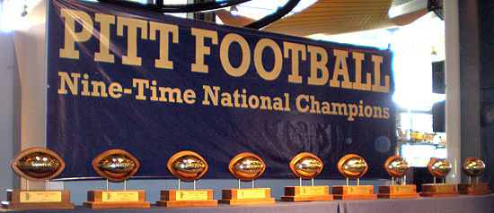 Some of Pitt's national championship trophies Pitt9Xchamp.jpg