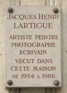 Plaque Jacques-Henri Lartigue, 102 rue de Lonchamp, Paris 16.jpg