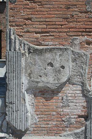 Plaster in Pompeji. Deutsch: Putz in Pompeji.