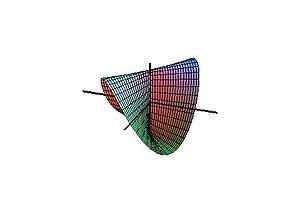 Plücker's conoid - Figure 1. Plücker's conoid with n=2.