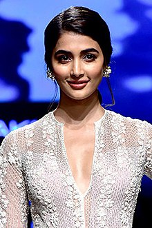 Pooja Hegde walked the ramp at the Lakme Fashion Week 2018 (05) (cropped).jpg