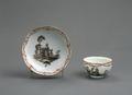 Porslin. Kopp med fat. Figur och naturmotiv - Hallwylska museet - 89151.tif