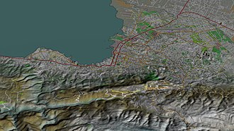 Port-au-Prince - Aerial view, 3D computer generated image. January 27, 2010.