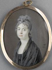 Portret van een vrouw met een zwarte sjaal