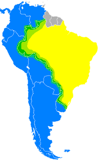 Map of occurrence of Portuñol in South America