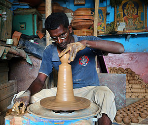Pottery - A potter at work in Bangalore, India