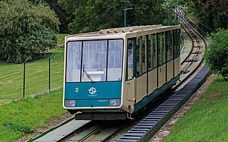 Petřín funicular - One of the Petřín funicular's two trains